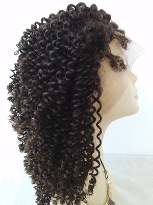 Burmese Virgin Kinky Curl Full Lace Wig For Black Women